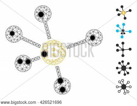 Mesh Bitcoin Links Polygonal Icon Vector Illustration, With Black Infection Nodes. Carcass Model Is
