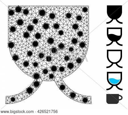 Mesh Full Mug Polygonal Icon Vector Illustration, With Black Virus Items. Model Is Based On Full Mug