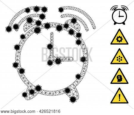 Mesh Alarm Clock Polygonal Icon Vector Illustration, With Black Infectious Centers. Model Is Based O