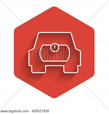 White Line Gas Tank For Vehicle Icon Isolated With Long Shadow Background. Gas Tanks Are Installed I