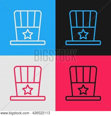 Pop Art Line Patriotic American Top Hat Icon Isolated On Color Background. Uncle Sam Hat. American H
