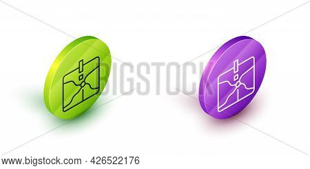 Isometric Line Intersection Point Icon Isolated On White Background. Green And Purple Circle Buttons
