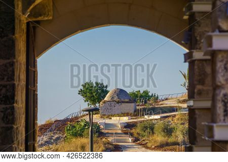 View Of An Old Ottoman Era Sheikh Tomb, From The Fortress, In Migdal Tsedek National Park, Central I