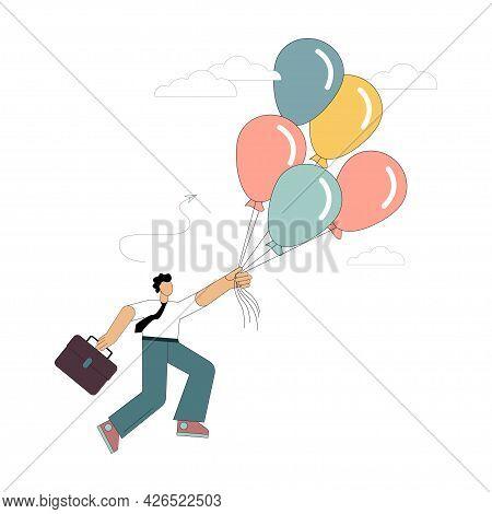 Man Flies On Balloons. Flight To The Dream