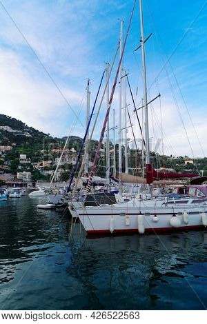 Villefranche Harbour With Turquiose Water With Boats And Ships, Cote Dazur Provence, France