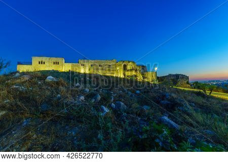 Evening View Of The Crusader And Later Ottoman Fortress Of Migdal Tsedek, Now A National Park, Centr