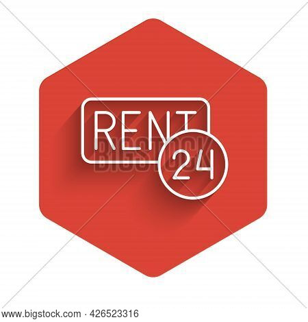 White Line Hanging Sign With Text Rent Icon Isolated With Long Shadow Background. Signboard With Tex