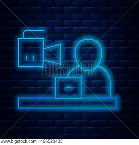 Glowing Neon Line Breaking News Icon Isolated On Brick Wall Background. News On Television. News Anc