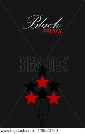 Beautiful Black Friday Greeting Card Concept. Classic Star Illustration On Black Background. Flat. I