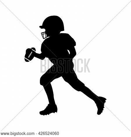 Silhouette American Football Player Running Boy With Ball. Symbol Sport. Illustration Icon Logo