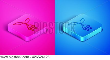 Isometric Line Electric Saving Plug In Leaf Icon Isolated On Pink And Blue Background. Save Energy E