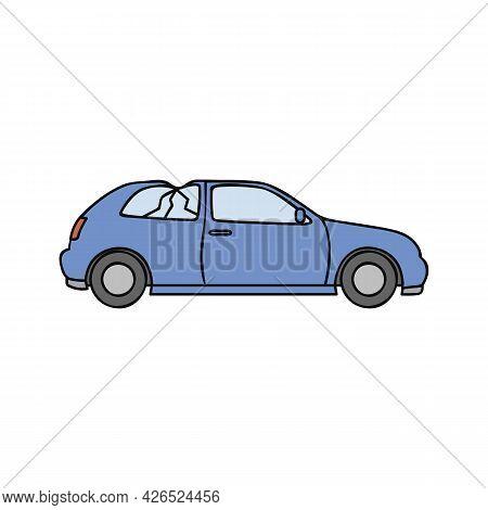 Blue Broken Car Scrap Metal Vector Illustration