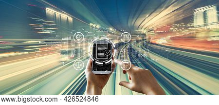 Compliance Concept With Person Using A Smartphone Over Abstract High Speed Technology Pov Motion Blu