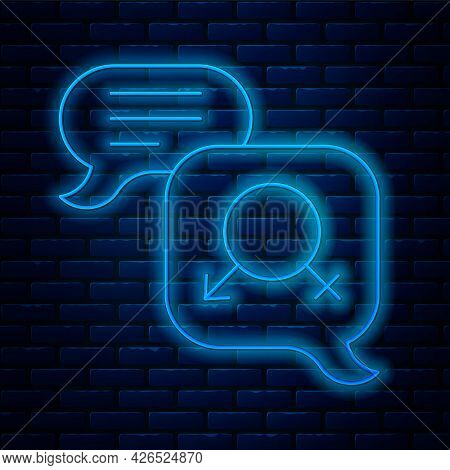 Glowing Neon Line Gender Equality Icon Isolated On Brick Wall Background. Equal Pay And Opportunity