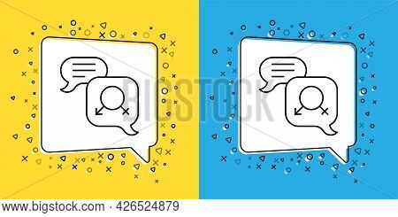 Set Line Gender Equality Icon Isolated On Yellow And Blue Background. Equal Pay And Opportunity Busi