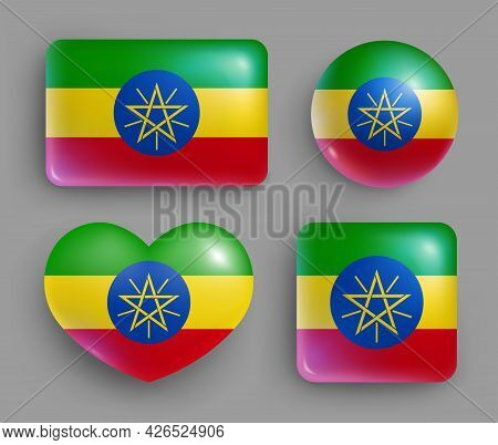 Set Of Glossy Buttons With Ethiopia Country Flag. Eastern African Country National Flag, Shiny Geome