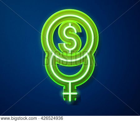 Glowing Neon Line Feminism Finance Icon Isolated On Blue Background. Fight For Freedom, Independence