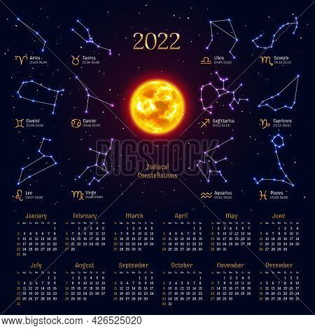 Wall Monthly Zodiac Calendar Layout In Dark Colors. 2022 Week Starts Sunday Calendar Template With Z