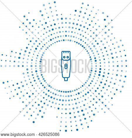 Blue Line Electrical Hair Clipper Or Shaver Icon Isolated On White Background. Barbershop Symbol. Ab