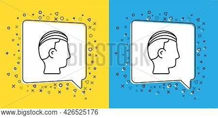 Set Line Hairstyle For Men Icon Isolated On Yellow And Blue Background. Vector