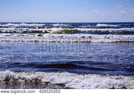 Panorama On Open Baltic Sea With Waves In Liepaja, Latvia