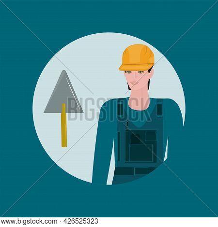 Builder In Helmet, Trowel - Vector. Poster. Banner. Builder's Day.