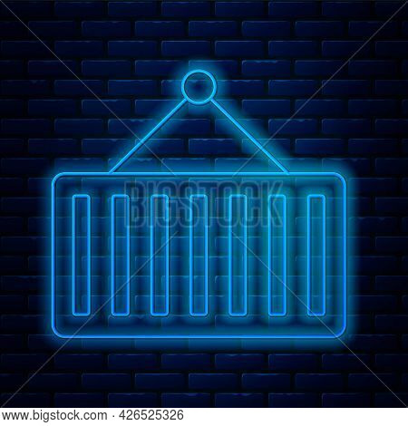 Glowing Neon Line Container On Crane Icon Isolated On Brick Wall Background. Crane Lifts A Container
