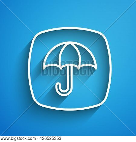 White Line Delivery Package With Umbrella Symbol Icon Isolated On Blue Background. Parcel Cardboard