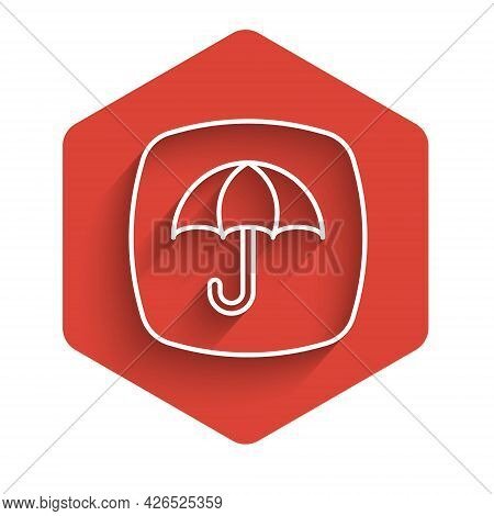 White Line Delivery Package With Umbrella Symbol Icon Isolated With Long Shadow Background. Parcel C