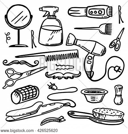 Hairdresser Equipment Set. Hair Dryer, Scissors, Razor, Mirror. Scribbles. Hand Drawing.barber Shop