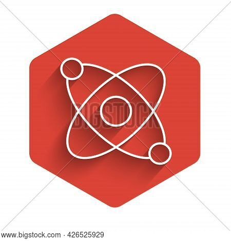 White Line Atom Icon Isolated With Long Shadow Background. Symbol Of Science, Education, Nuclear Phy