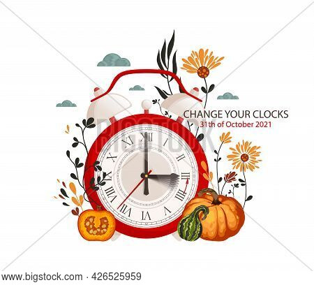 Daylight Saving Time Begins Concept. The Clocks Moves Forward One Hour.