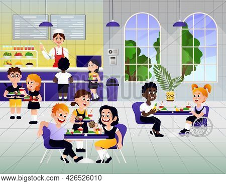 Kids In A Canteen Buying And Eating Lunch. Children Eat In School Canteen. Vector Illustration Eps10