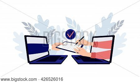 People Signing Paper And Digital Contract. Digital User Agreement Signing Digital Document With Elec