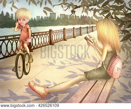 Children's Raster Illustration. A Girl In A Dress With A Backpack Sits On A Park Bench. The Boy Ride