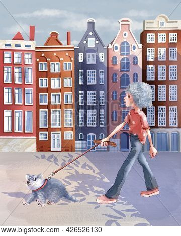 Children's Raster Illustration. A Girl Walks Along The Streets Of Amsterdam With A Raccoon On A Leas
