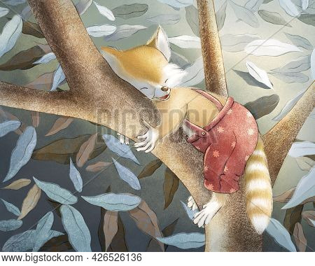 Children's Raster Illustration. Story. A Little Raccoon Sleeps On A Tree. Raccoon In Panties With Su