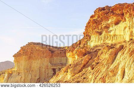 Famous Rock Erosion Formations In Bolnuevo, Near Mazarron. Yellow Sandstone Shapes. Murcia Spain. Pl