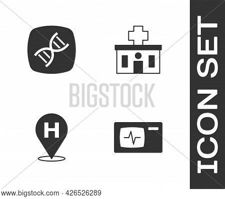 Set Monitor With Cardiogram, Dna Symbol, Location Hospital And Hospital Building Icon. Vector