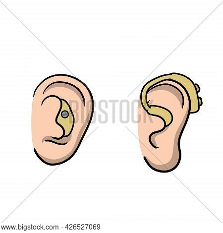Hearing Aid. Audiphone In Ear. Set Of Cartoon Illustration. Hearing Problems And Disabilities