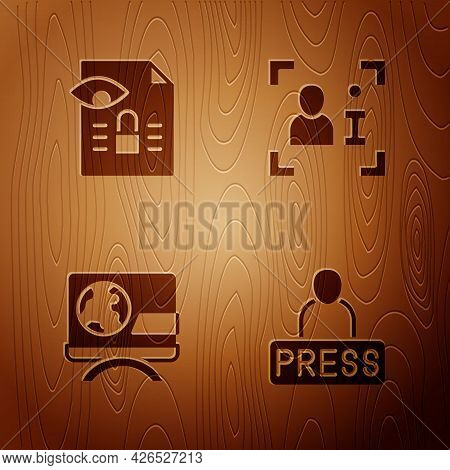 Set Journalist News, Journalistic Investigation, Breaking And Television Report On Wooden Background
