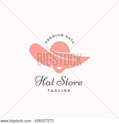 Hat Store Vector Symbol, Sign Or Logo Template. Ladys Face In A Hat Icon With Typography. Headwear S