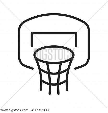 Monochrome Basketball Hoop Icon Vector Illustration Ring, Board And Grid For Active Sports Game