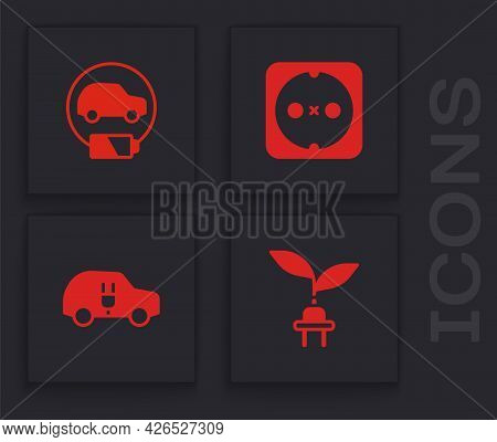 Set Electric Saving Plug In Leaf, Car, Electrical Outlet And Icon. Vector