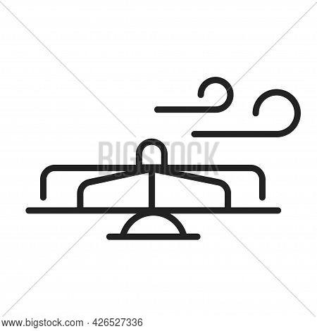 Monochrome Linear Children S Carousel Icon Vector Illustration Rotation Amusement Park Attraction