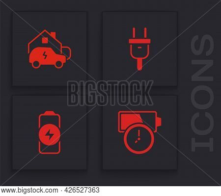 Set Battery Charge, Charging Car Home, Electric Plug And Icon. Vector