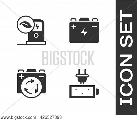 Set Battery Charge, Electric Car Charging Station, With Recycle Symbol And Car Battery Icon. Vector