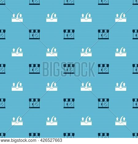 Set Barbershop Building And Human Hair Follicle On Seamless Pattern. Vector