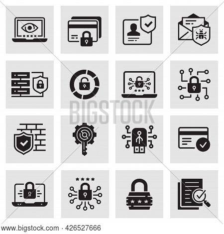 Cyber Security Icons, Such As Access Control, Antivirus, Password And More. Vector Illustration.