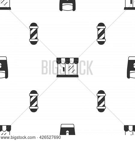 Set Electric Razor Blade, Barbershop Building And Classic Pole On Seamless Pattern. Vector